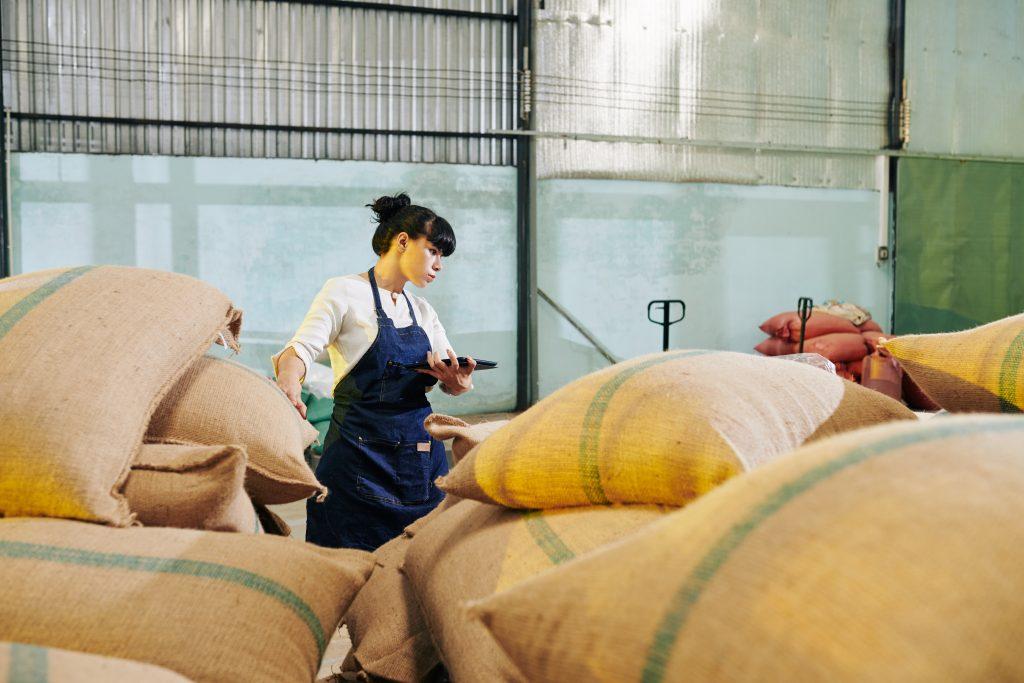 Businesswoman in warehouse