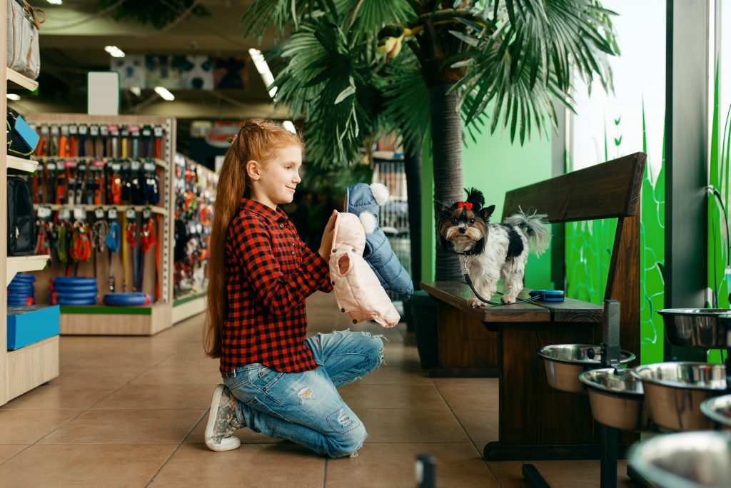 Girl trying clothes on small dog in pet store